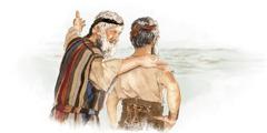 Moisés encorajando Josué