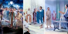 يسوع واقف امام بنطيوس بيلاطس؛ يسوع يمسك عملة تُدفع بها الضريبة؛ يسوع يوبِّخ بطرس لأنه قطع اذن ملخس