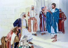 Jesus holds up a tax coin and replies to the Pharisees' cunning questions