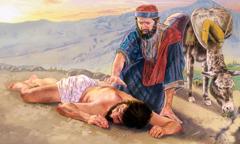 Dobri Samarićanin prilazi povređenom putniku koji je Judejac