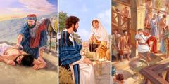 Dobri Samarićanin prilazi povređenom putniku koji je Judejac; Isus razgovara sa Samarićankom na bunaru; Petar ulazi u Kornelijevu kuću