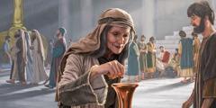 Uma viúva pobre fez uma pequena contribuição no templo