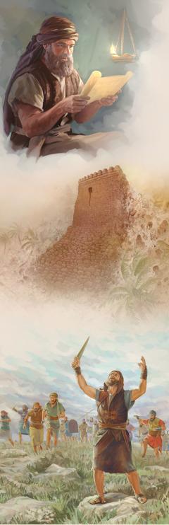 Josuè llegint la Llei; les muralles de Jericó caient ila casa de Rahab intacta; Josuè orant aJehovà amb les mans aixecades cap al cel