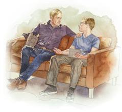 Seorang bapa mendengar dengan sabar semasa anak remajanya bercakap