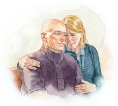 Një grua tregon durim me burrin e saj të sëmurë