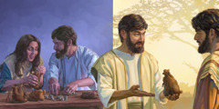 Ananija in Safira štejeta svoj denar; Ananija prinese nekaj denarja apostolu Petru.