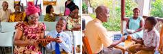 אב ובנו משתמשים במכשירים אלקטרוניים במהלך התוכנית הרוחנית המשפחתית; הורים שמחים לראות את בנם עוזר לאחות להשתמש במכשיר אלקטרוני באסיפה