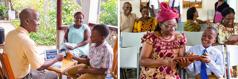 En far og en sønn bruker elektroniske enheter på familiestudiet; faren og moren er glad for å se sønnen hjelpe en søster med nettbrettet hennes på et møte