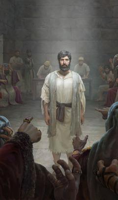 Stefanus blijft kalm terwijl hij voor het Sanhedrin staat