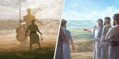 Dawid en Goliat staan gereed om te veg; Josua en sy manne berei voor om die Beloofde Land binne te gaan