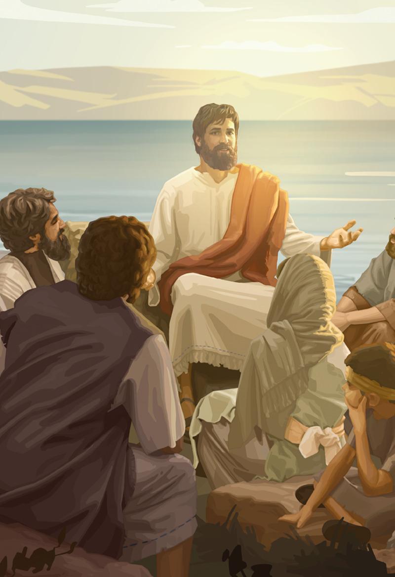 Jesús enseñando a unas cuantas personas
