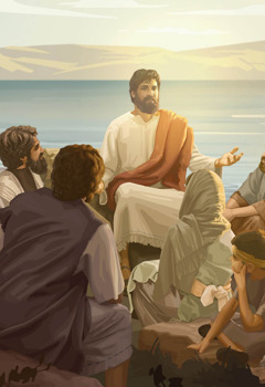 Jesus teaches a group of people