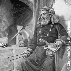 Un alquimista medieval en su laboratorio