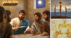 Jesus passing the bread at the Lord's Evening Meal, giving his life, and reigning in heaven