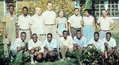 Woodworth and Oris Mills with the Bethel family in Lagos, Nigeria, in 1957