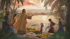 Job cuando era joven enseñándoles a algunos de sus hijos las maravillosas creaciones de Jehová