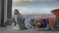 Mózes könyörög Jehovához, hogy gyógyítsa meg Mirjamot, akit leprával sújtott; Áron is figyel