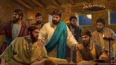 Jézus szelíden tanácsot ad a tanítványainak, akik arról vitatkoznak, hogy melyikük a legnagyobb