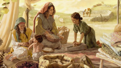 While preparing a meal, an Israelite mother converses with her daughters; the father trains his son to care for the sheep