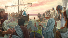 Jesus arrives by boat and then teaches a large crowd
