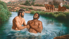 Philip baptizes the Ethiopian eunuch