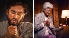 Jesus prays; an older sister prays