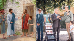 Jesus preaches to a man and his son; an older brother preaches to a man and his son at a public witnessing cart
