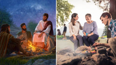 Jesus talks with his disciples around a fire; two sisters enjoy association around a fire as a brother cooks food