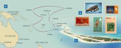 'n Kaart van die Paynes se reise in die kringwerk; posseëls van 'n paar van die eilande; die eiland Funafuti in Tuvalu