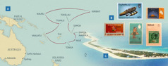Peta yang menunjukkan perjalanan keluarga Payne selama melayani dalam pekerjaan keliling; prangko dari beberapa pulau; Pulau Funafuti di Tuvalu
