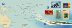 Péta sing nduduhké perjalanané Winston wektu dadi pinituwa wilayah; prangko saka pulau-pulau ing kono; pulau Funafuti ing Tuvalu