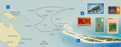 Un mapa de los viajes de los Payne en la obra de circuito; sellos postales de algunas islas; la isla de Funafuti, que pertenece a Tuvalu