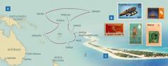 Wiston watukuq umalli kashaspa esposanwan kuska viajasqankumanta mapa; wakin islakunamanta foto; Funafuti isla, chayqa Tuvalumanmi pertenecen