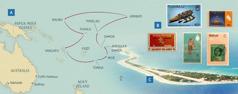 Mapa, na ktorej sú vyznačené cesty Paynovcov v krajskej službe; poštové známky z niektorých ostrovov; ostrov Funafuti v štáte Tuvalu