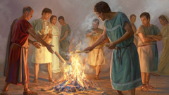 Early Christians bring their books about magical arts together and burn them