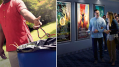 A brother throws an amulet in the trash; a couple walks past posters advertising spiritistic movies