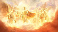 Jesus as our powerful heavenly King leads an army of angels
