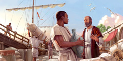 The apostle Paul speaks to a worker beside a cargo ship