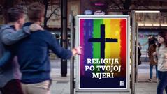 Reklamni plakat jedne crkve koja tolerira homoseksualnost