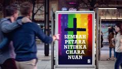 Chura ba papan iklan ari sebuah gerija nunjukka gerija nya ngemendarka pengawa homoseksual
