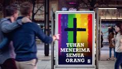 Iklan dari sebuah gereja yang membolehkan hubungan sesama jenis