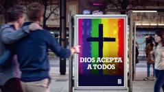 Un anuncio de una iglesia que tolera la homosexualidad