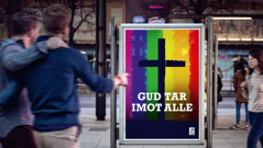 En reklameplakat fra en kirke som aksepterer homoseksuelle handlinger