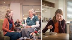 אחות עצובה בזמן שהיא מתבודדת, אך חשה אמפתיה כלפי אחרים כשהיא מבשרת לאישה המרותקת לכיסא גלגלים