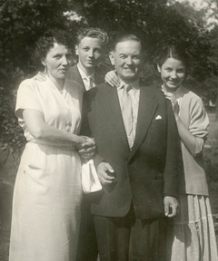 Manfred Tonak with his parents and sister in Germany, about 1950