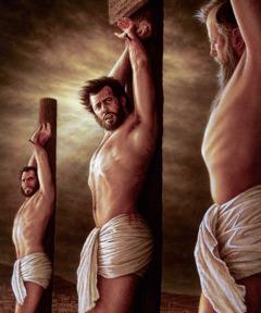 Yesus dipakukan di tiang siksaan di antara dua penjahat