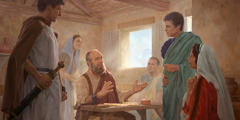 Paulo haklaken ba guarda sira no ema ne'ebé vizita nia bainhira nia hela iha uma iha Roma nu'udar dadur