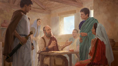 Paul preaches to a guard and visitors while he is under house arrest in Rome