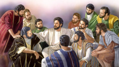 Jesus with his 11 faithful apostles