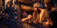 Twee discipelen van Johannes de Doper bezoeken hem in de gevangenis